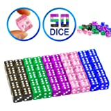 YOUSHARES 50 Pcs Multi-Color Dice Set – Assorted Translucent Color with 10 Pcs Each, 16mm D6 Standard Dice with Extra Carrying Bag, Perfect for Tenzi, Yahtzee and Casino Games (Color: 50 Dice Translucent)