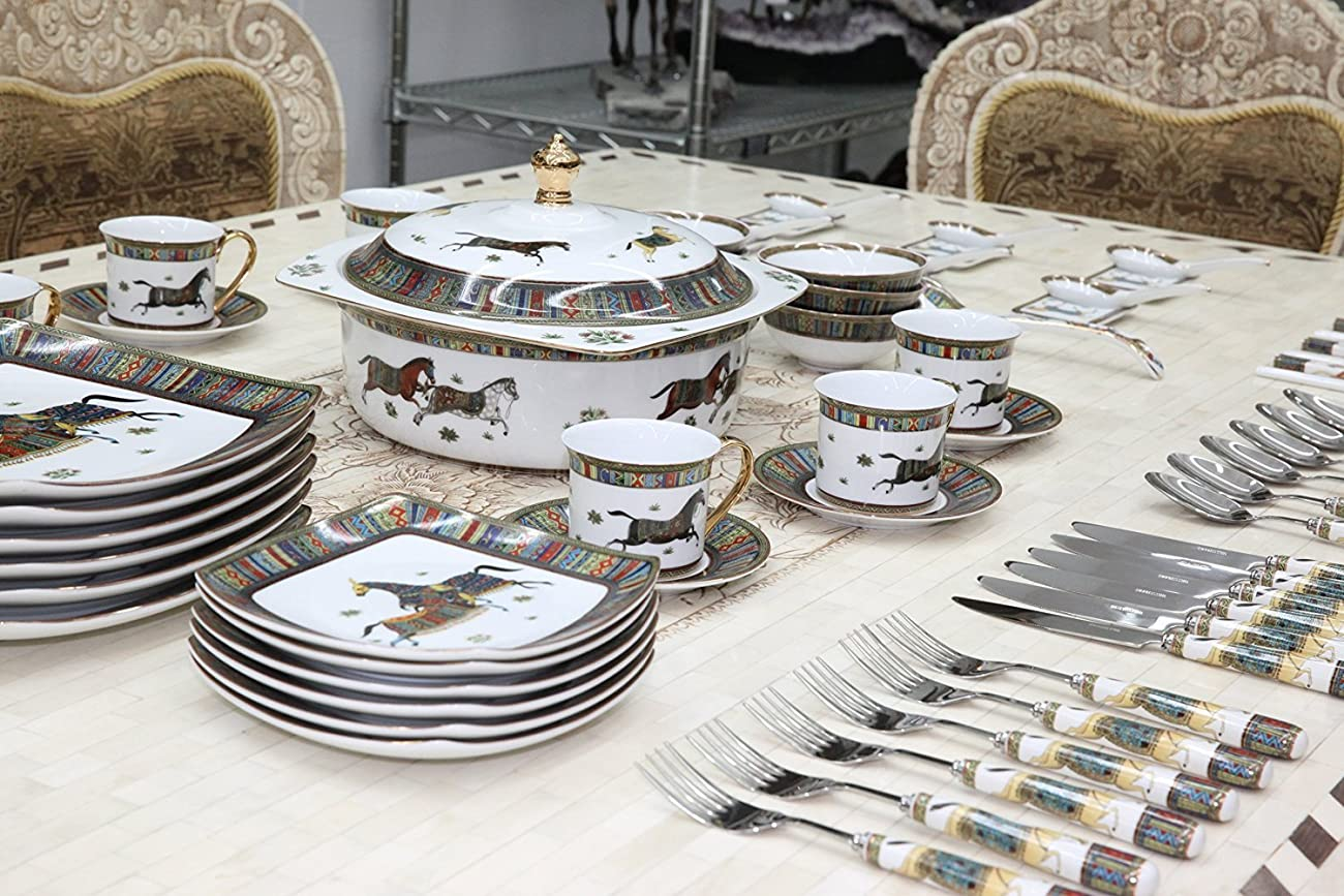 Royal Porcelain Greek Key Horse Cheval 75-pc Large Dinner and Sushi set, Service for 6, Vintage Luxury dinnerware banquet set in a case 4
