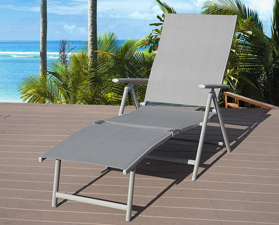 Kozyard Cozy Aluminum Beach Yard Pool Folding Reclining Adjustable Chaise Lounge Chair (Gray)