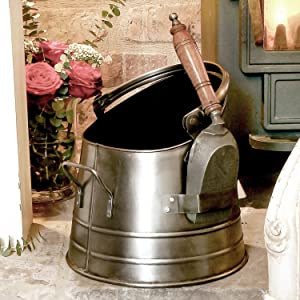 Antique French Pewter Silver Coal Scuttle Bucket with Shovel       Customer review and more information