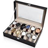 Readaeer Black Leather 12 Watch Box Case Organizer Display Storage Tray for Men & Women (Color: Black, Tamaño: 12slots)