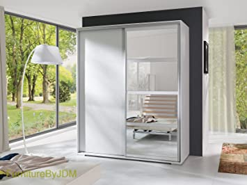 "Brand New, Modern, 2 Door Sliding Wardrobe ""LEO"" with Mirror. Width: 180cm Height: 217cm Depth: 66cm (White)"