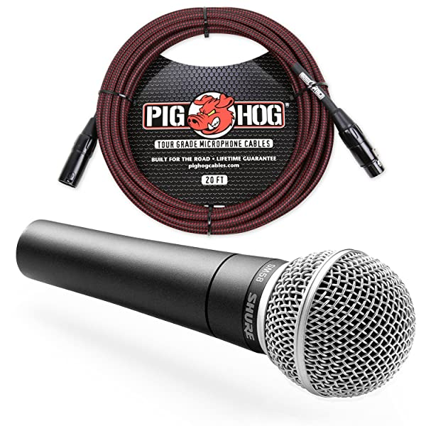 Shure SM58 Cardioid Vocal Microphone & Pig Hog Mic Cable, 20ft XLR - Bundle (Red) (Color: Red)