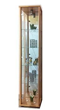 glasvitrine sammlervitrine vitrine beleuchtung buche mit spiegel us11. Black Bedroom Furniture Sets. Home Design Ideas