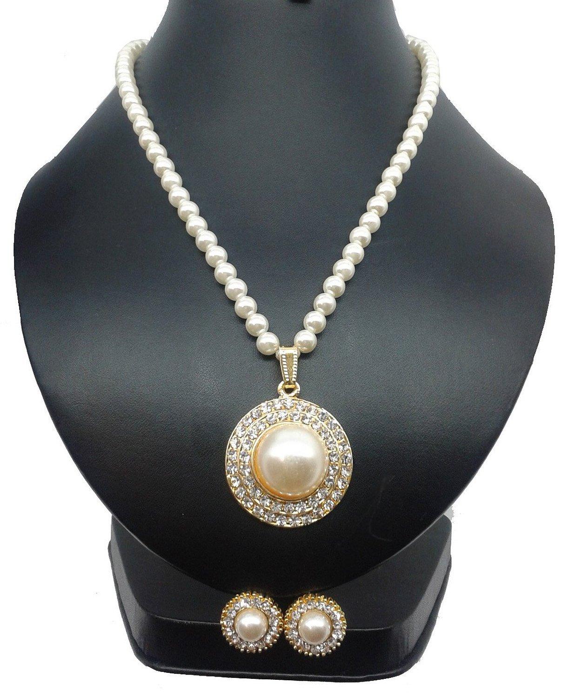 Bling N Beads White pearl Pendant Set For Women