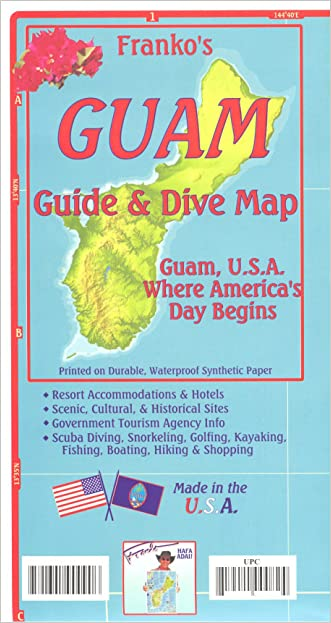 Guam (Micronesia) 1:94,000 Guide & Dive Map, waterproof FRANKO
