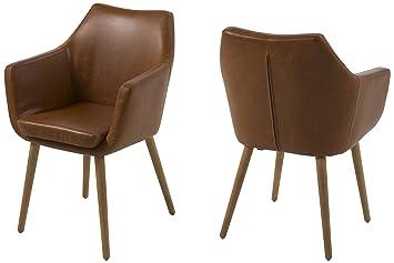 AC Design Furniture Lore - Silla con brazos (revestimiento de piel artificial, patas de roble)