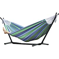 Vivere Double Cotton Oasis Hammock with Stand (Oasis)