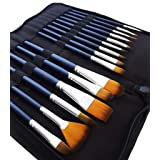 MozArt Supplies Watercolor Paint Brush Set - 15 Assorted Synthetic Hair Paint Brushes - Includes Portable Case with Brush Stand Artist Grade (Color: 15 Set With Case)