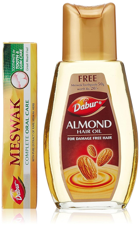 Dabur Almond Hair Oil, 200ml with Free Dabur Meswak Toothpaste, 50g