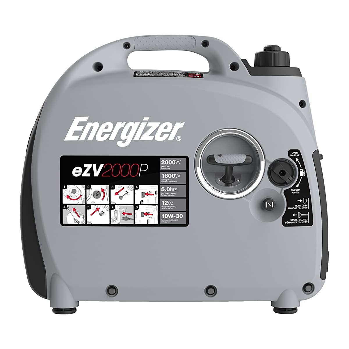 Energizer eZV2000P 2000W Gas Powered Portable Inverter Generator with Parallel Capability, Grey Black