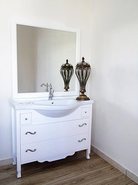 Arredo bagno shabby chic bianco opaco con cassetti con decoro fiore mobile bagno moderno