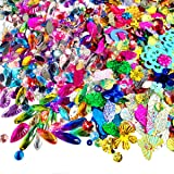 200 Gram Sequins and Flatback Rhinestones Craft Supplies Flatback Beads Sewing for Costume Wedding Dress Decorations(2000pcs,Assorted Colors Sizes)