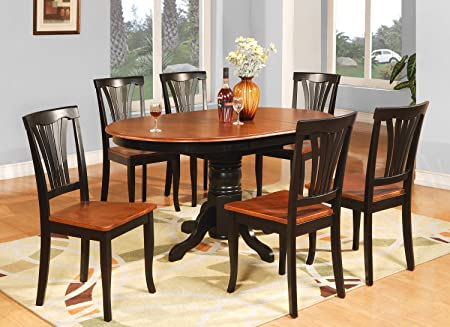 East West Furniture AVON7-BLK-W 7-Piece Dining Table Set