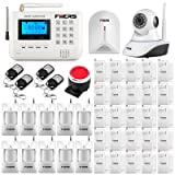 Fuers FQ2 GSM Landline 2-in-1 Wireless Home&Business Office Burglar Security Alarm System DIY Kit Auto Dial,720P wifi ip Camera,Glass Break Sensor Detector,Remote Monitoring by Call,SMS,Controller,app