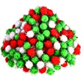 500 Pieces Glitter Pompoms 1 Inch Fuzzy Pom Poms Arts and Crafts Making Balls for Hobby Supplies and Craft DIY Decoration (White, Fruit Green, Red) (Color: White, Fruit Green, Red)