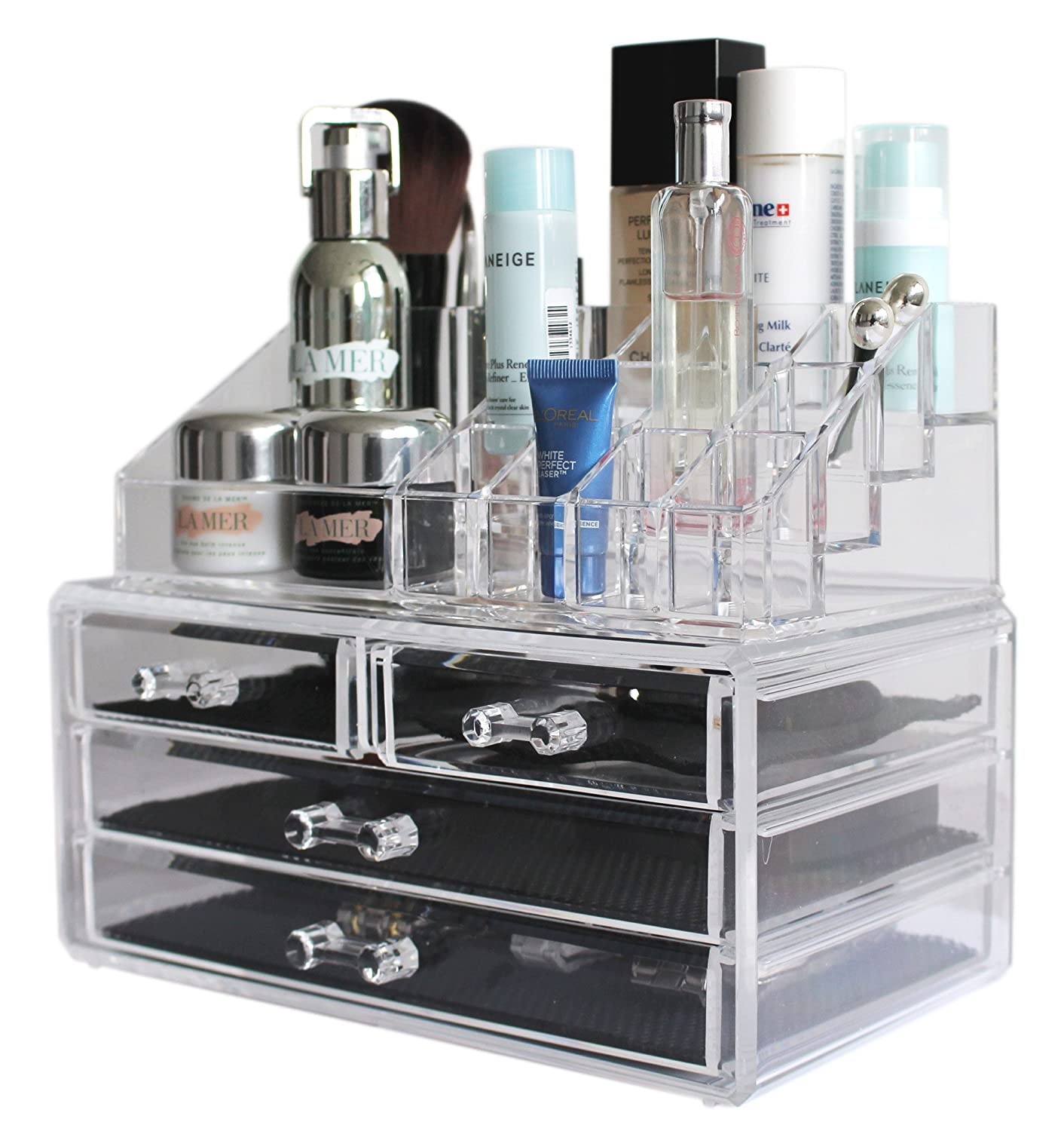 Sodynee Jewelry and Cosmetic Storage 2 Piece Acrylic Makeup Organizer