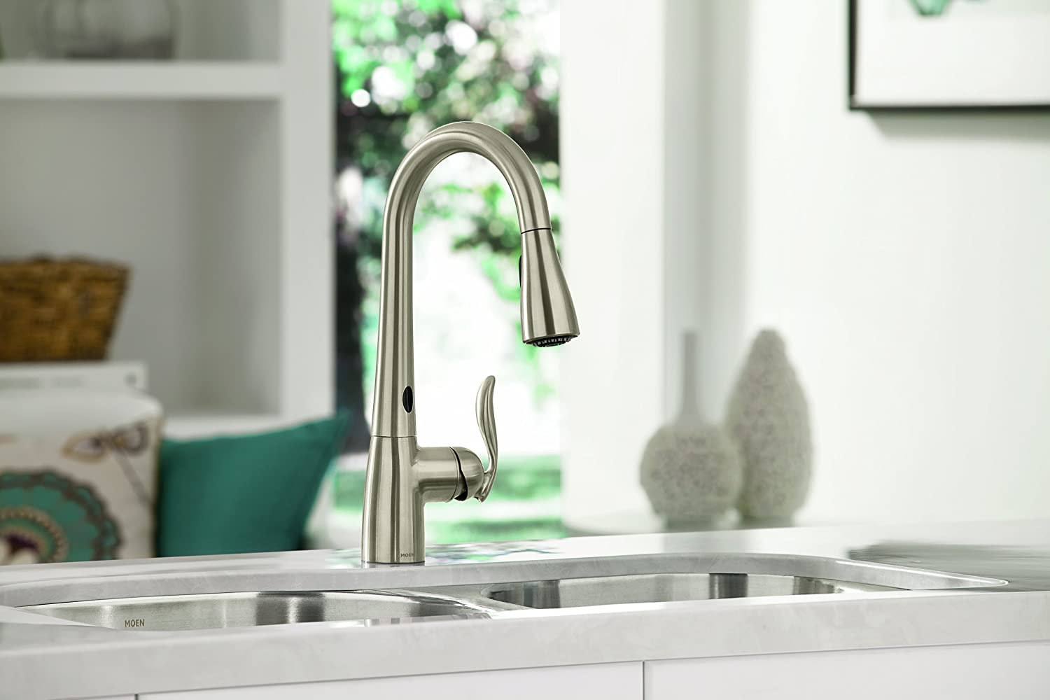 moen 7594esrs arbor with motionsense onehandle high arc pulldown kitchen faucet featuring reflex