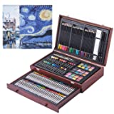 145 Piece Deluxe Art Creativity Set in Portable Wooden Case- Crayons, Oil Pastels, Colored Pencils, Watercolor Cakes, Sharpener, Sandpaper & 2 x 50 Page Drawing Pad!- Deluxe Art Set (Color: 145PCS)