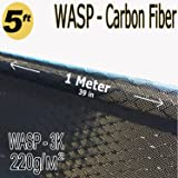 39 in x 5 FT - WASP - Carbon Fiber Fabric - Wasp Weave-3K - 220g-Black (Color: Black)