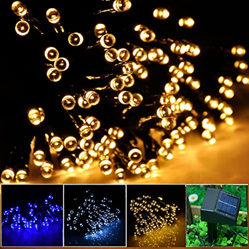 INST Solar Powered LED String Light Ambiance Lighting 55ft 17m 100 LED Solar Fairy String Lights for Outdoor Gardens Homes Christmas Party (Warm White)