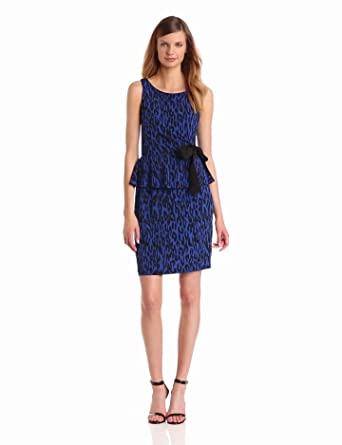 Taylor Dresses Women's Leopard Print Peplum Dress, Cobalt/Black, 8 Missy