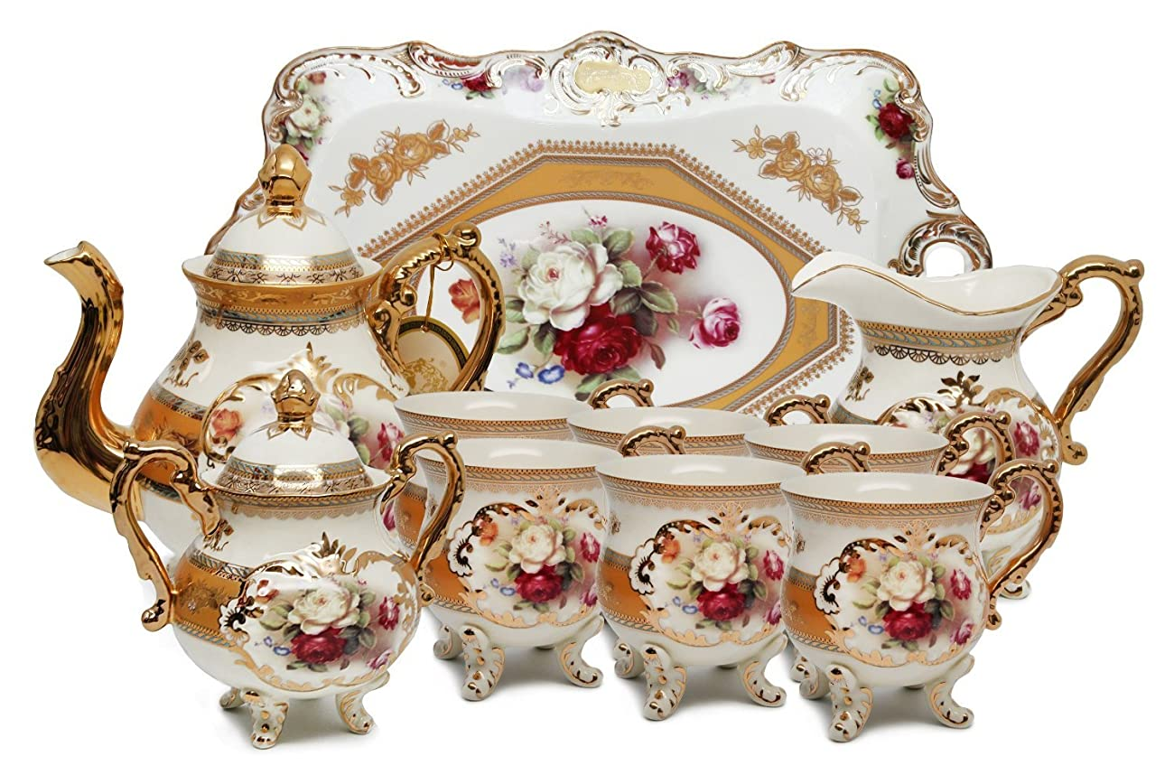 Royal Porcelain 10-Piece Vintage Rose-Decorated Dining Tea Cup Set, Service for 6, Handmade & Hand-Painted, 24K Gold-Plated Bone China Tableware 0