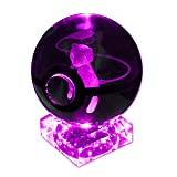 Pokemon GO K9 Crystal Ball Pokeball Night Lights 7 Color LED Changing Base Lamp with Random Engraved Keychain (Mew)