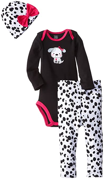 Gerber Baby-Girls Newborn 3 Piece Bodysuit Cap and Pant, Dalmatian, 3-6 Months