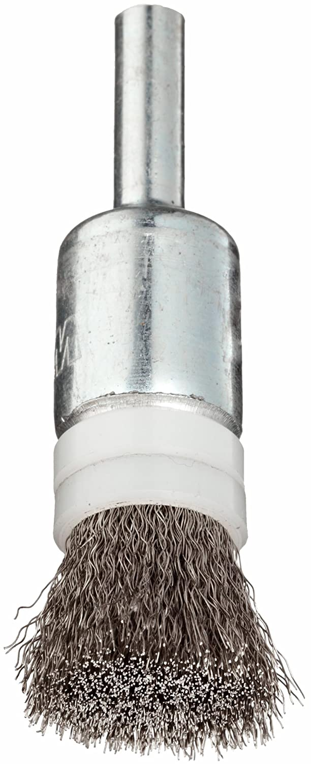 Weiler Wire End Brush, Banded, Solid End, Round Shank, Stainless Steel 302, Crimped Wire