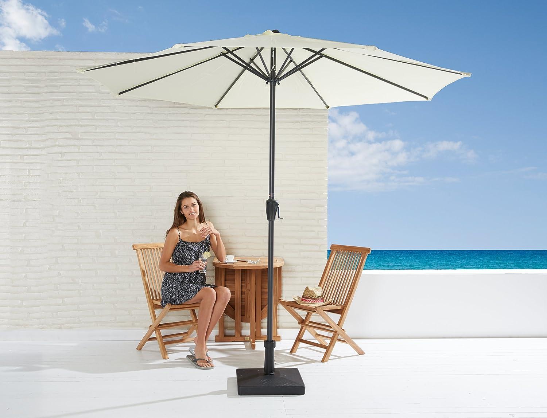 Sonnenschirm Set in ecru mit Kurbel zum zusammenrollen und Schirmfuß jetzt bestellen