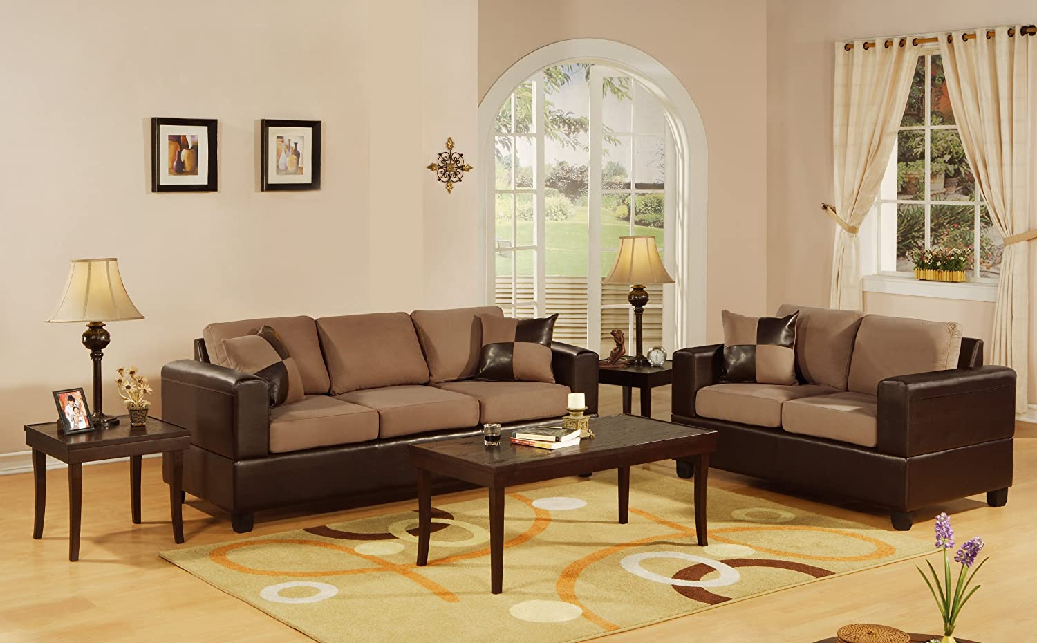 Sofa and loveseat sets Microfiber sofa and loveseat set