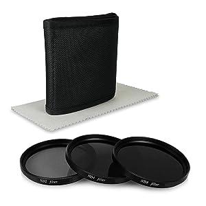 77mm ND Pack de filtros para Nikon D300S | D3S | D4 | D4S | D800 - Canon EOS 5D Mark II - Sony Alpha 850 | Alpha 900 | Alpha SLT-99V y mucho más... - incl. Filtros ( ND2 + ND4 + ND8 ) + Funda + Paño de limpieza de microfibra - Electrónica Más información y revisión del cliente