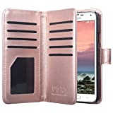 Galaxy S5 Case, ULAK Samsung S5 Wallet Case, Fashion PU Leather Magnet Wallet Flip Case Cover with Built-in Credit Card/ID Card Slots for Samsung Galaxy S5 SV Galaxy S V i9600-Rose Gold