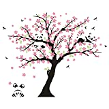 LUCKKYY Three Playful Pandas Bear on Cherry Blossom Tree Wall Decal Tree Wall Sticker Nursery and Children's Room (Pink) (Color: Pink)