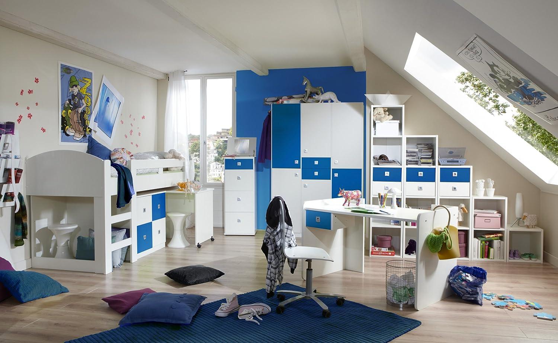 Jugendzimmer mit Bett 90 x 200 cm alpinweiss/ marineblau jetzt bestellen