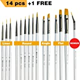 Miniature Paint Brushes - Best Detail Paint Brush Set of 14 pcs +1 Free, Tiny Small Model Paint Brush Set for Face Painting, Fine Detailing - Acrylic Watercolor Oil Enamel (Color: gold, silver, black)