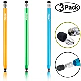Honsky Universal Sensitive Slim Long Pencil-style Metal Screen Touch Cell Phone Tablet Capacitive Stylus Pen, Compatible with iPad iPhone Samsung, Android Devices (Blue, Champagne, Green/3 Packs) (Color: Blue,Champagne,Green)