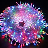 Christmas String Lights, FULLBELL 33ft 100 LEDs with Controller Fairy Twinkle Lights Decoration for Chirstmas Tree,Garden,Multi Stings Connectable(Transparent Wire)(Multi-Color) (Color: Colorful Brightness (Transparent Wire), Tamaño: Transparent-wire)