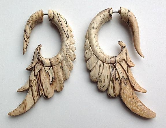 "Primal Distro L.L.C. Fake Gauge Earrings - ""Natural Wing"" - Tamarind Wood - Organic - Hand Carved at Sears.com"