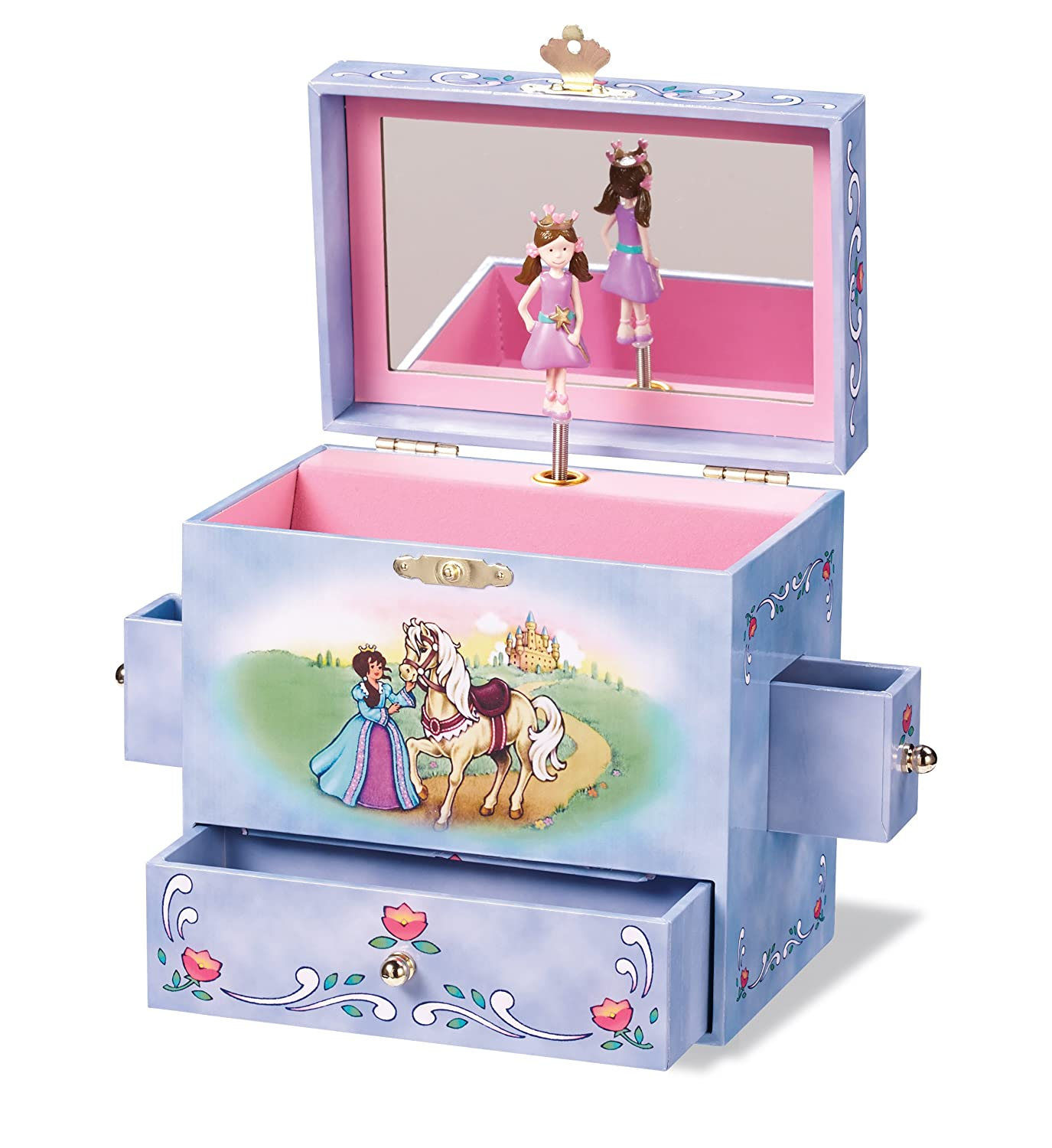 Wooden Twirling Princess Music Box with Secret Drawer Gift for Girls