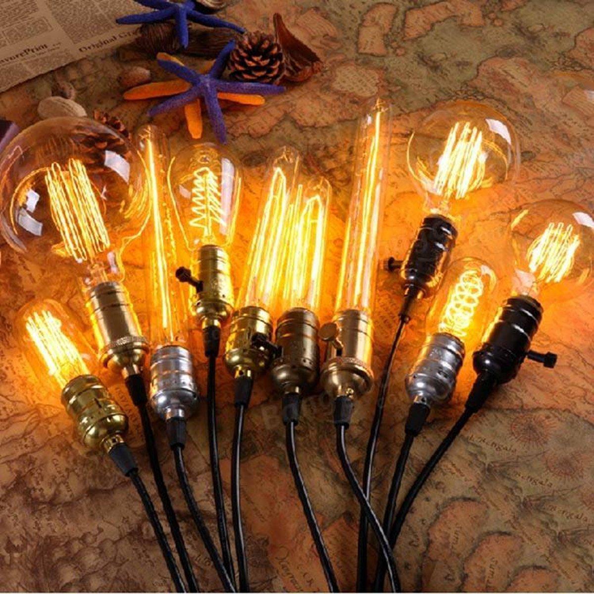 SooFoo T45 Edison Tubular Style Bulb , Vintage Antique Light Bulb ,E27 E26 Base ,110-130V 40W ,Warm white , Tubular Clear Glass, Filament Bulb For Home Light Fixtures Decorative, Dimmable (4 Pack)