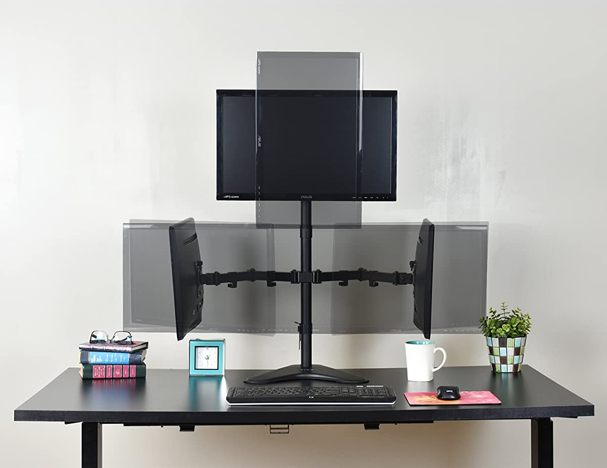"""VIVO Triple LCD LED Computer Monitor Desk Stand Free Standing Heavy Duty Fully Adjustable, Mounts Three Screens up to 27"""""""
