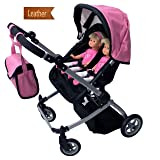 Babyboo Luxury Leather Look Twin Doll Pram/Stroller with Free Carriage (Multi Function View All Photos) - 9651A Pink (Color: Pink & Black)