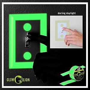 Glow in the Dark Tape Dots + 10 Glow-in-the-Dark Tape | 150 Dots (Tamaño: 1 Dots/Circles)