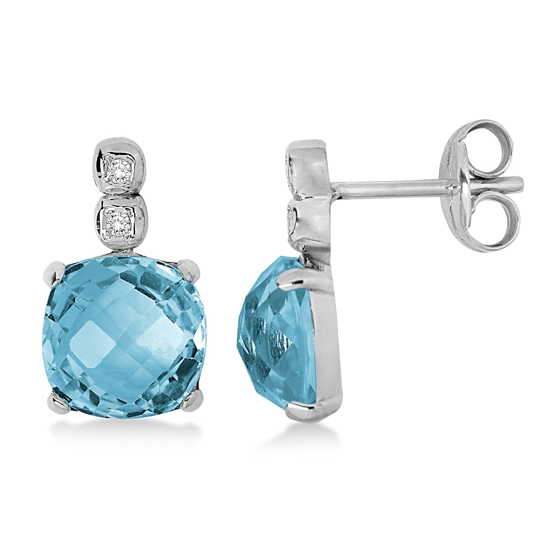 Miore Damen-Ohrringe  585 Weißgold mit Blau Topas und 4 Brillanten MN006E schenken