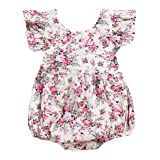 Seven Young Newborn Baby Girls Floral Print Backless Romper Infant Kids Jumpsuit Outfit Playsuit Clothes(Floral#1, 12-18 Months) (Color: Floral#1, Tamaño: 12-18 Months)