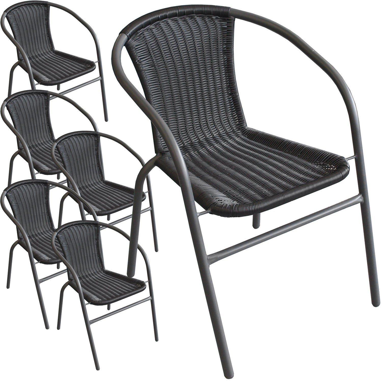 6 Stück Bistrostuhl Stapelstuhl Gartenstuhl Balkonstuhl stapelbar pulverbeschichtetes Metallgestell mit Poly-Rattanbespannung Schwarz / Anthrazit online bestellen
