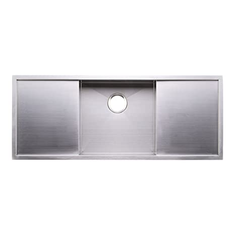 "BAI 1257 - 45"" Handmade Stainless Steel Kitchen Sink Single Bowl With Two Drainboards Under Mount 16 Gauge"