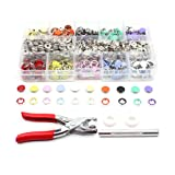 BTU 200pcs Snap and Snap Pliers Set with Buttons Fastener Setter Hand Tool and Installation Tools, 10 Color Leather Snaps for Sewing Crafting Clothes, Jackets, Jeans Wears, Bracelets, Bags (Tamaño: 200 Sets)